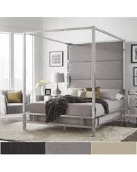 Metal Canopy Bed Bargains On Evie Chrome Metal Canopy Bed With Linen