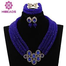 blue beads necklace images African royal blue beads earrings necklace jewelry sets for women jpg