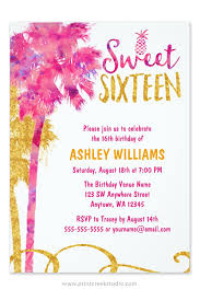 a trendy watercolor pink and faux gold glitter tropical sweet 16