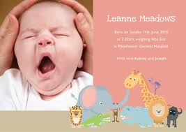 announcement cards pink photo birth announcement cards animals birth announcement cards
