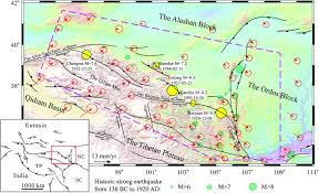 Tibetan Plateau Map 3d Finite U2010element Modeling Of Earthquake Interaction And Stress