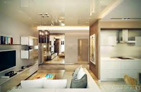 interior white brown open lounge kitchen near living room with