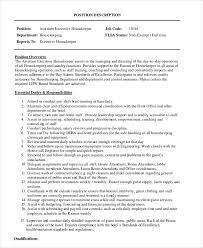 Housekeeper Job Description Resume by Duties Of A Housekeeper For Resume
