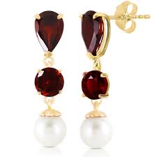 Garnet Chandelier Earrings 14k Solid Gold Chandelier Earring With Garnets Pearls