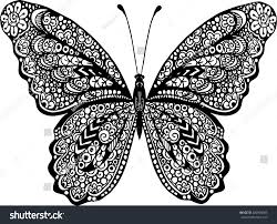 abstract doodle vector outline decorative butterfly stock vector