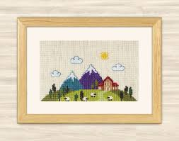 buy 2 get 1 free cross stitch pattern alpen village house
