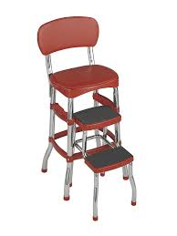 Retro Red Kitchen Chairs - amazon com retro counter chair step stool kitchen u0026 dining