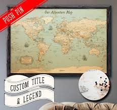 Push Pin Map World Map Push Pin Rustic Style 13x19 Customizable Pin