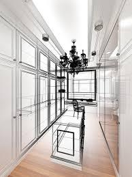 abstract sketch design of interior walk in closet stock