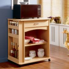 Kitchen Cabinet With Microwave Shelf Furniture Natural Wood Microwave Carts With Storage Cabinet For