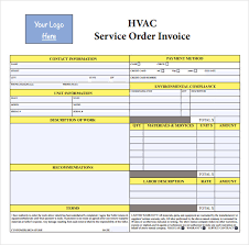 free printable work invoice template sle hvac invoice template 14 download documents in pdf word