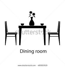 Dining Room Table Clipart Black And White Thin Line Interior Dining Room Vector Stock Vector 422544094