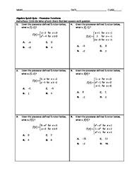 algebra quick quiz piecewise functions by math solutions infinity