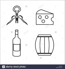wine vector take out cork cheese barrel and bottle of wine vector