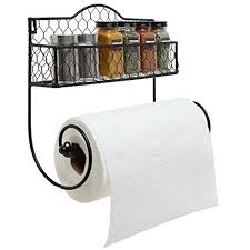 Kitchen Towel Racks For Cabinets Wall Mounted Rustic Black Metal Kitchen Spice Rack U0026 Paper Towel