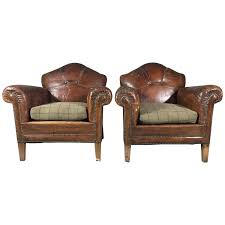 Finch Fine Furniture Pair Of English Art Deco Leather And Hobnail Club Chairs Circa