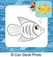 fish underwater coloring book page black and white outline