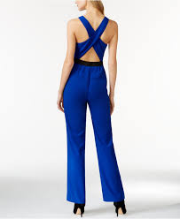 roy jumpsuit lyst roy sleeveless cross back jumpsuit in blue