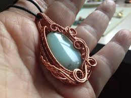wire necklace making images Woven copper wire pendant with amazonite stone jewelry making jpg