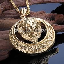 gold mens necklace pendants images Lion necklace mens ltc necklaces jpg