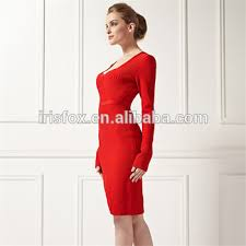 long sleeve new fashion knee length evening gowns designer red
