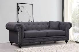 Fabric Chesterfield Sofas by 662gry Sofa In Grey Linen Fabric W Optional Items