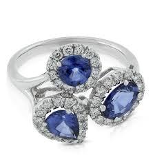 cluster rings sapphire diamond cluster ring 14k ben bridge jeweler