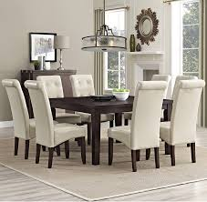 9 piece dining room set amazon com simpli home cosmopolitan 9 piece dining set satin