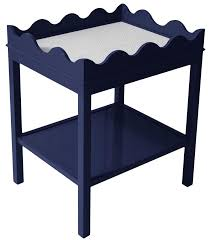 Navy Side Table Scalloped Two Tier Lacquer Side Table Navy Blue 16 Colors