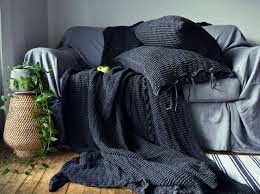 waffle linen blanket peppercorn grey charcoal