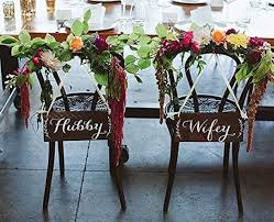 wedding chair signs hubby chair signs wood wedding chair signs