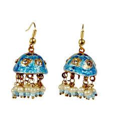 fancy jhumka earrings buy rajasthani turquoise lacquer fancy jhumka earrings online