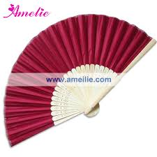 personalized folding fans 50piece lot wholesale wine color silk fan for party