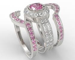 pink wedding rings light pink sapphire with 3 40 ct ctw diamond trio wedding ring set