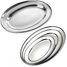 stainless steel oval rice tray plate serving dish platter meat