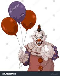 clown balloon l scary clown holds balloons stock vector 317769596