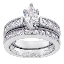 silver wedding ring sets sterling silver marquise cz 2 engraved wedding ring set