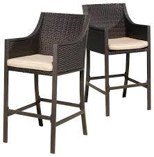 bar stools for outdoor patios gdfstudio rani outdoor bar stools set of 2 brown view in outdoor