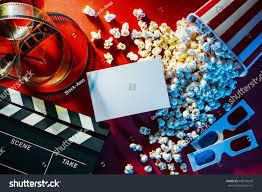 blank cinema promo card ticket popcorn stock photo 449136610