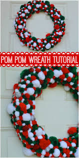 christmas pom pom wreath our thrifty ideas