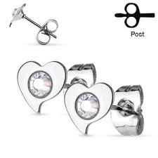 surgical steel stud earrings set heart 316l surgical steel stud earrings baambaam