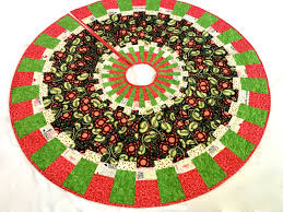 modern christmas tree skirt quilted handmade patchwork