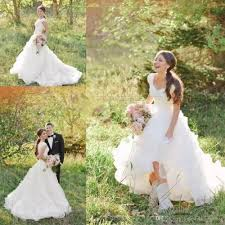 country style wedding dresses scoop neckline short sleeve a line