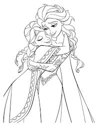 anna hugging elsa the snow queen colouring page fun colouring