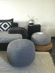 Pouf Ottoman Insert Grey Pouf Ottoman Footstool Floor Cushion Crochet Pouffe Pouf