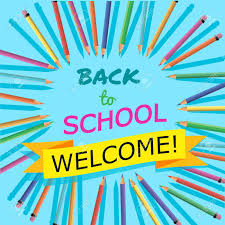 welcome brochure template back to school background with colorful pencils with header