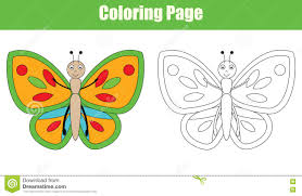 coloring page with butterfly kids activity stock vector image