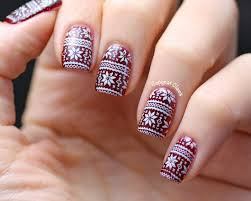 Christmas Light Nails by Copycat Claws Christmas Sweater Nordic Nail Stamping