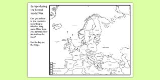 second world war colouring map world war two ww2 world war