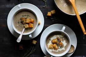 creamy mushroom soup with croutons the last food blog